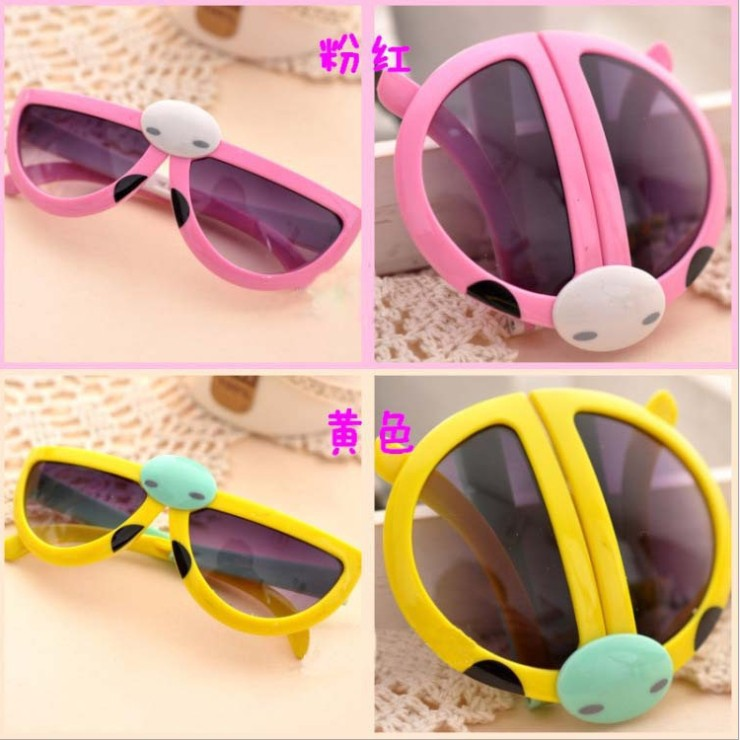 Min order 7$ (can mix order)1pcs 2014 Children girls boy Fashion Cartoon Style Folding Baby Beetle Kids Sunglasses Child Goggles(China (Mainland))