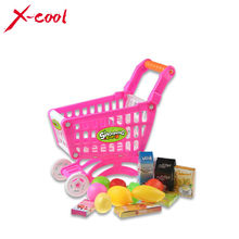 Mini Children Supermarket  Plastic Shopping Cart with Full Grocery Food Playset Toy for Kids XC1302(China (Mainland))