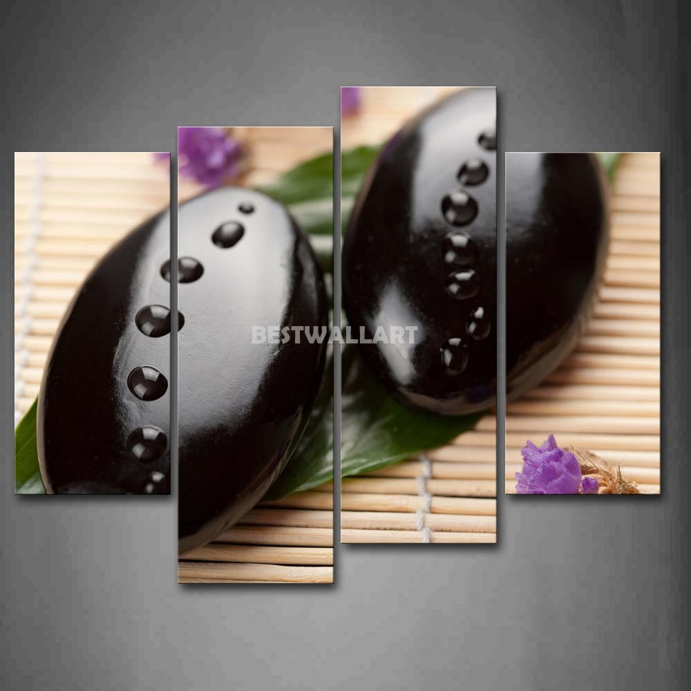 Zen And Purple Flowers 4 Piece Painting On Canvas Wall Art