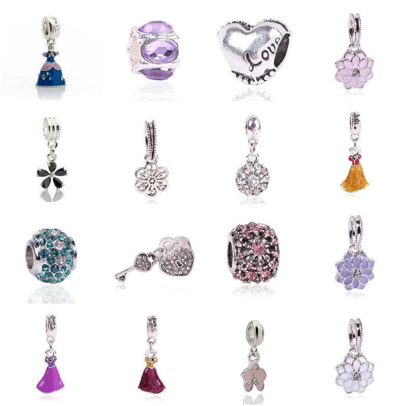 NEW Free Shipping 1Pc Jewelry Silver Bead Charm European Alloy Bead 7 Color Crystal Fit Pandora DIY Bracelet for Women Gift(China (Mainland))