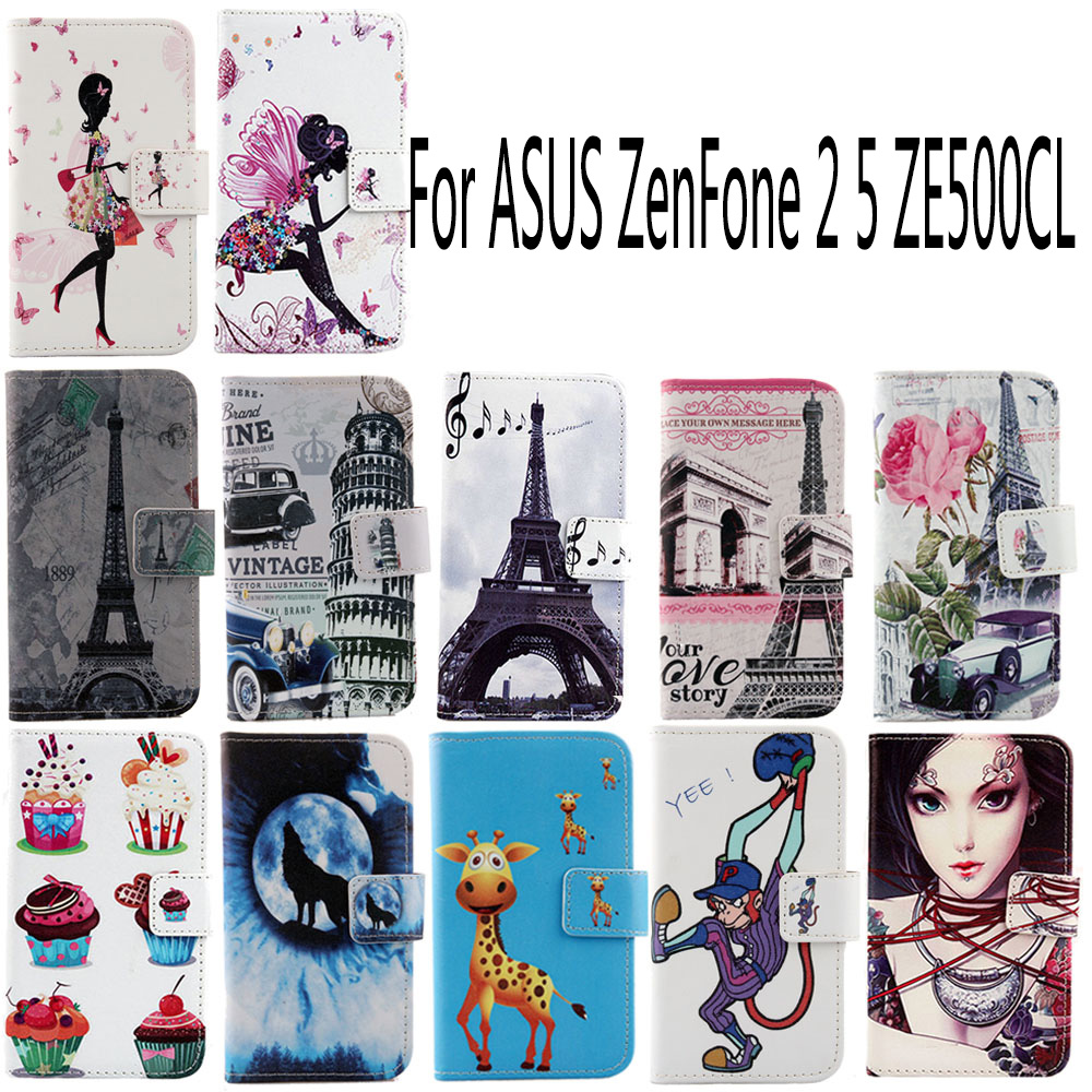 AiLiShi PU Cartoon Painted Leather Case ASUS ZenFone 2 5 ZE500CL Cute Patterns Flip Fashion Elegant Cover Skin Stock  -  xiying Trading Co., Ltd store