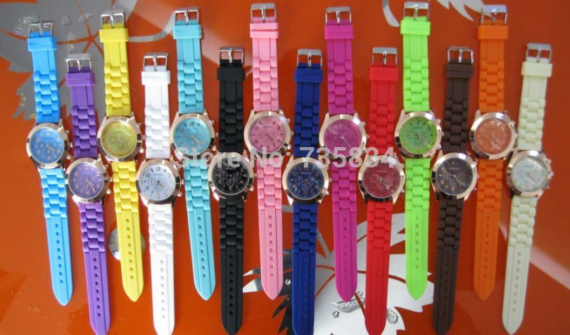 Wholesale 50pcs/lot Unisex Geneva Quartz Gold watch Rubber Candy Jelly Silicone watches GW053<br><br>Aliexpress