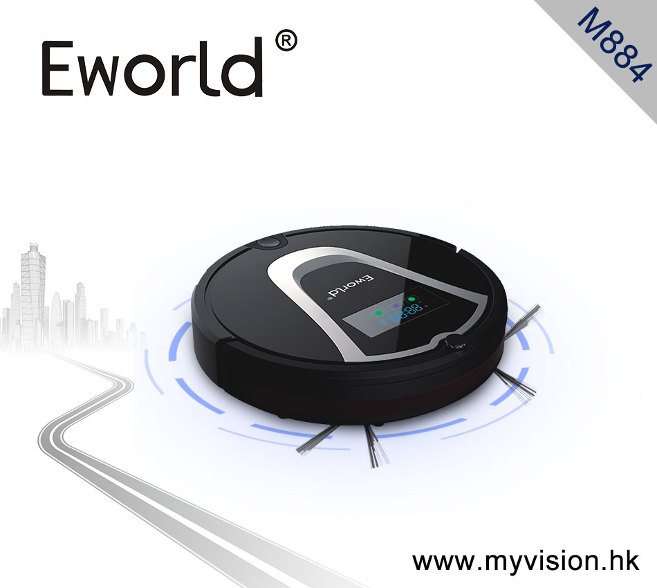 Eworld M884 2016 New Design Dry Wet Robot Vacuum Cleaner for Home MOP,Self Charge M884 Black Robot Cleaner Sweeper(China (Mainland))