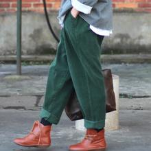2016 Winter Women Pants Corduroy Harem Pants Ladies Casual Trousers Elastic Waist Full Pants Women Hip Pants S64(China (Mainland))