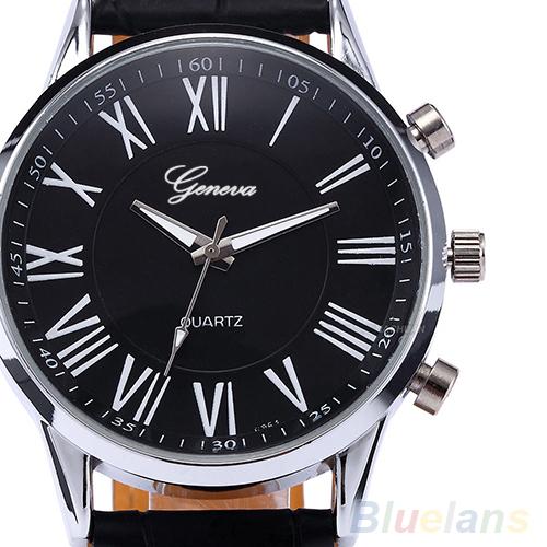 Fashion Roman Dial watch Mens Elegant Leather Black Analog Quartz Sport Wrist Watch men 0675(China (Mainland))