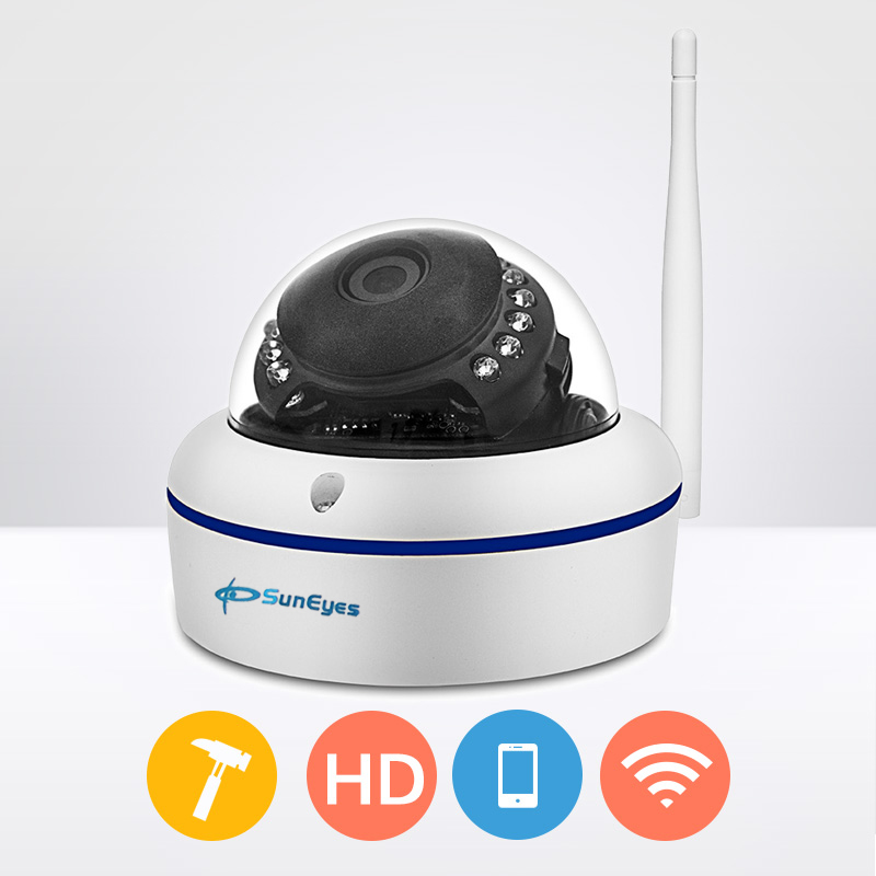 SunEyes SP-V702W 720P HD Mini Dome IP Camera Outdoor Wireless Wifi Weatherproof ONVIF RTSP P2P Metal Alloy Case