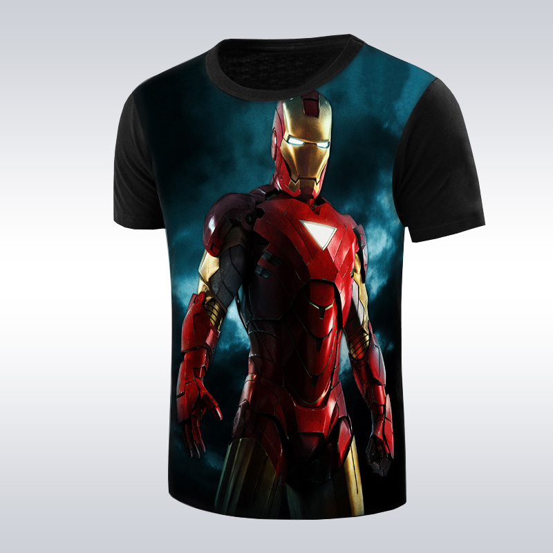 2016 new fashion iron man men's t shirt super heros Iron Man men t-shirt o-neck casual the Avengers 3d print tees tops(China (Mainland))
