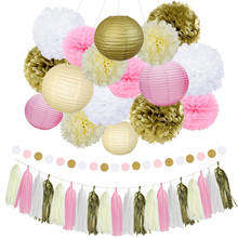 Nicro 22 قطعة الذهب مختلطة الوردي العاج الأبيض فانوس زهرة شرابة معلقة DIY بها بنفسك المعمودية عيد ميلاد زخارف حفل زفاف # Set02(China)