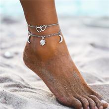 私場合自由奔放に生きる多層カメシェル女性のムーン太陽ヴィンテージビーチロープ足首ブレスレット脚に夏足ジュエリー(China)
