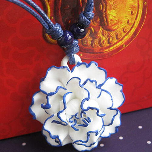 Hand Drawing China Retro Blue White Ceramic Design Ceramics Necklace Pendants Women Choker Hollow Necklaces Ladies Mom Gift - Yikia store