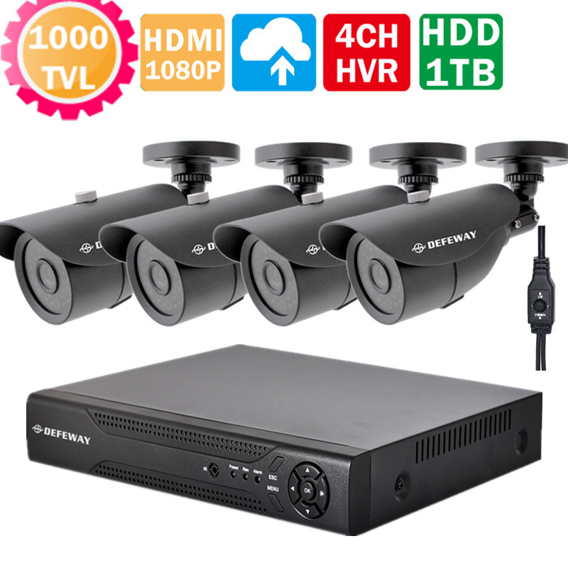 HD 4CH CCTV system video Surveillance 4 channel 960h 720P 1080P IP NVR DVR KIT 1000TVL OSD security camera system with 1TB HDD(China (Mainland))
