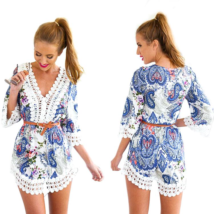 High Quality Womens Summer Dresses 2015 Sexy V-neck Lace Patchwork Floral Print Dress Fashion Crochet White Beach Dress QL642(China (Mainland))