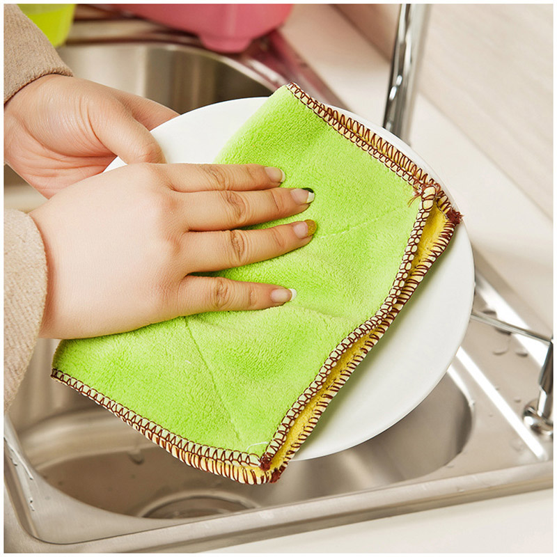 27*17cm Multi Color Kitchen Towel Dish Cloth Absorbent Microfiber Cleaning Cloth(China (Mainland))