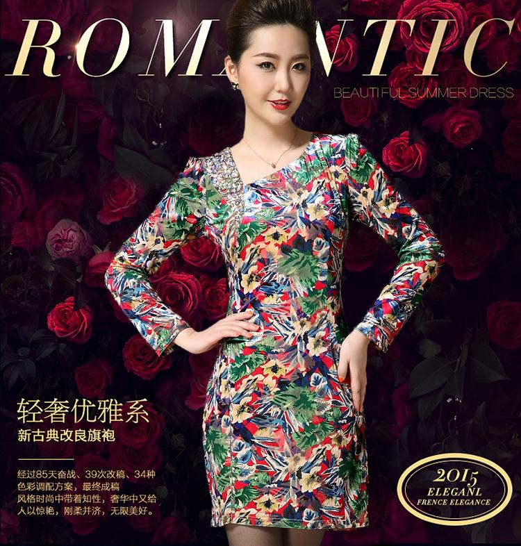 2015 High Quality Velvet Cheongsam Dress Straight Casual Plus Size Diamonds Middle Aged Mother Dress Autumn Women Clothes M-3xl