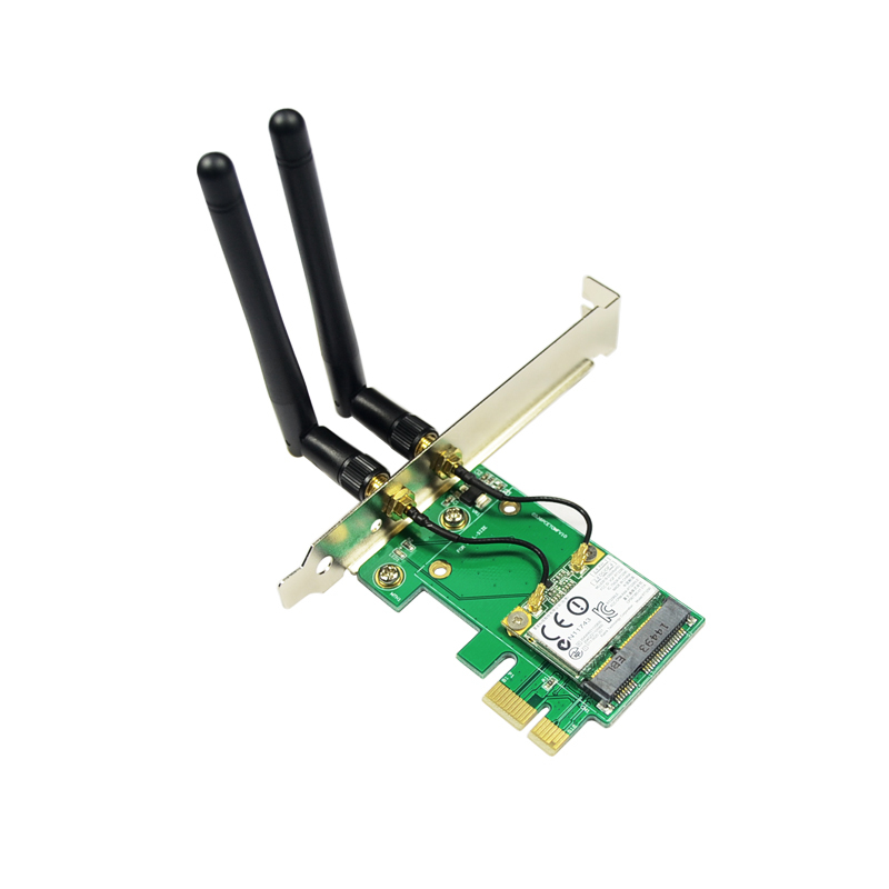 Good Quality New Arrival MiniPCI-E 802.11N WIFI + Bluetooth to PCIe Wlan Wireless Card Desktop PC Network Adapter Best Price(China (Mainland))