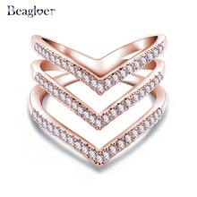 Продвижение Продажа Beagloer Мода Кольцо Роуз Золотое Покрытие Микро CZ Алмаз Моды Три V Форма Кольца для Женщин CRI1034(China (Mainland))