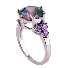 Wholesale Mysterious Round Cut Rainbow Topaz Amethyst 925 Silver Ring Size 6 7 8 9 10