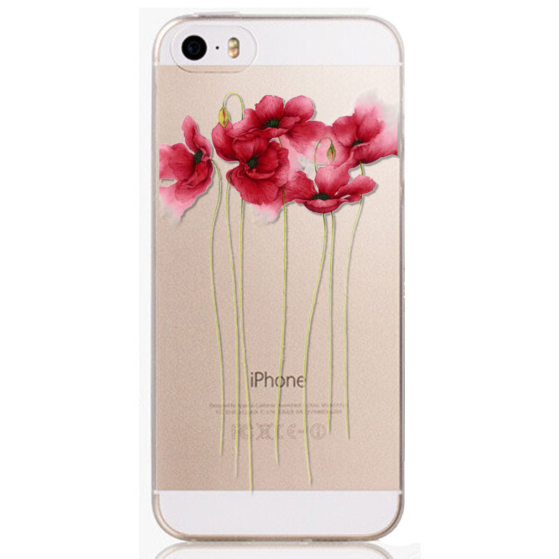 For iPhone 5 5S SE Phone Case Cover Ultra Thin Crystal Colorful Flowers Painted Transparent Clear Mobile Phone Soft Back Case