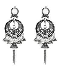 Bollywood Oxidiert Schmuck Ethnische Silber Afghanischen Perle Lange Quaste Perlen Tropfen Blume Jhumka Indische Ohrringe Hochzeit Schmuck(China)
