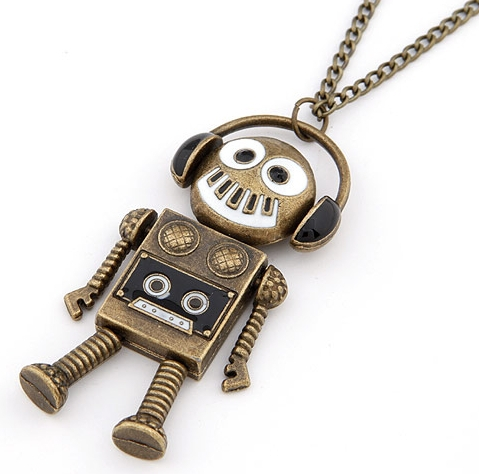 wholesale fahion vintage Lovely enamel robot sweater chain free shipping for $15 mini mixed order 3pcs/lot(China (Mainland))