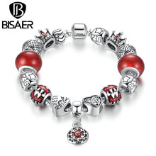 Buy BISAER Antique Silver Plated Flower Pendant & Red Beads,Star Crown Charms Bracelets & Bangles Jewelry Accessories GO1909 for $7.41 in AliExpress store