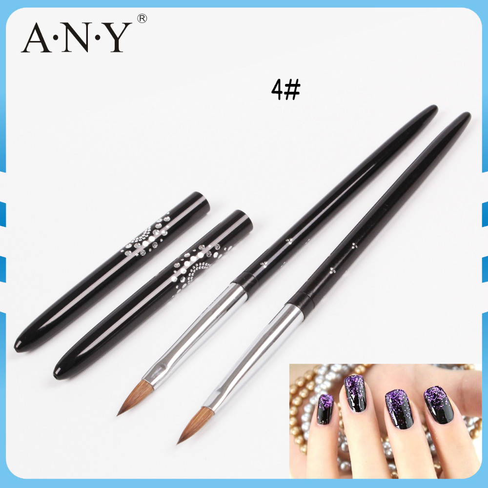 Free Shipping Hot Selling ANY Black Metal Handle With Shine Dots Oval Kolinsky Acrylic Nail Brush 4# Single Piece(China (Mainland))