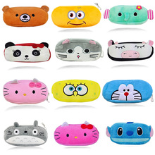 Cartoon Kawaii Pencil Case Cartoon Totoro Minions Hello Kitty Plush Large Pencil Bag For Kids Children School Supplie Stationery