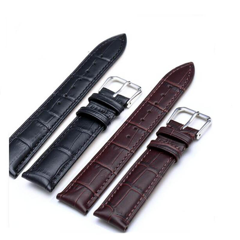 1pc Pu Leather Watch Strap Stainless Steel Tang Buckle 100% Brand New Watchbands 2 colors 7 sizes(China (Mainland))