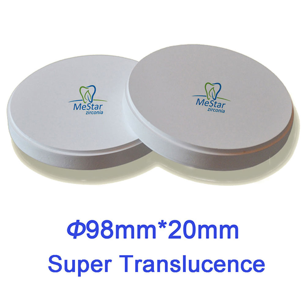Super Translucent Dental CAD/CAM Zirconia Disc  98mm*20mm Compatible with Open System, VHF,  Wieland, Imes-Icore, Roland etc..