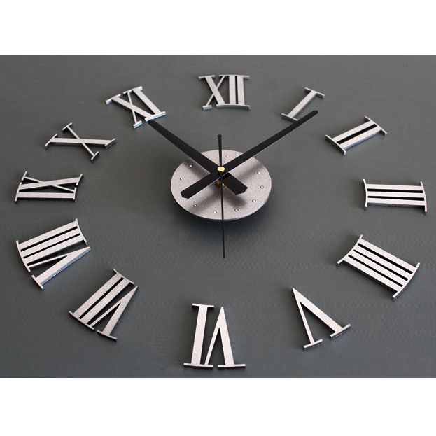New DIY Adhesive Silver Vintage Roman Numeral Number Frameless Wall ...