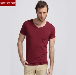 Free Shipping JOHN CABOT High Quality Mens t shirts Short Sleeve V Neck Mens Casual Clothes Blank tshirt Retail(China (Mainland))