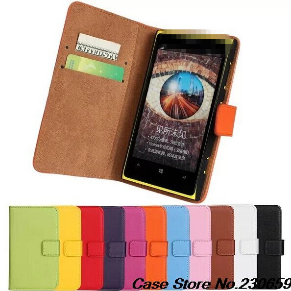 FOR Lumia 1020 100% genuine leather Wallet Leather Case Nokia Flip Cover Card Handbag+ dt - alice top store