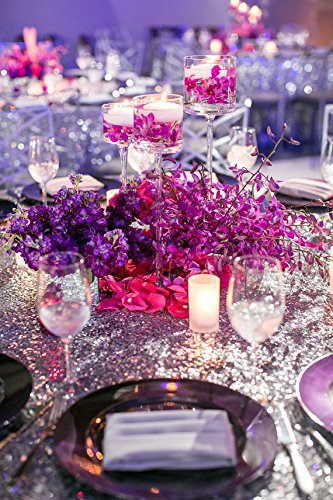 8FT Banquet Silver Sequin TableCloth Silver Sequined Table Cloth Wholesale Silver Sequin Table Linens Events Decora(China (Mainland))