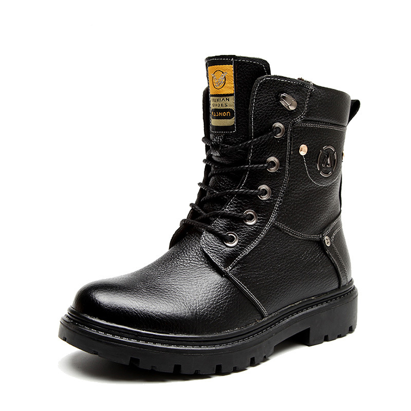 2015 Original Brand Winter Thermal Hoof Heels Casual Mens Short Geniue Leather Boots Army Working Sapato Masculino