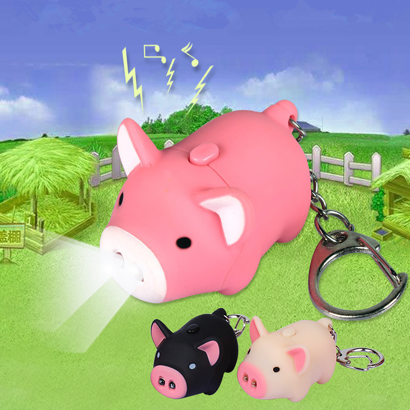 Cartoon Little Pig Design LED Keychain with Sound Flashlight Kid Emergency torch Animal pig Keyring Wholesale(China (Mainland))