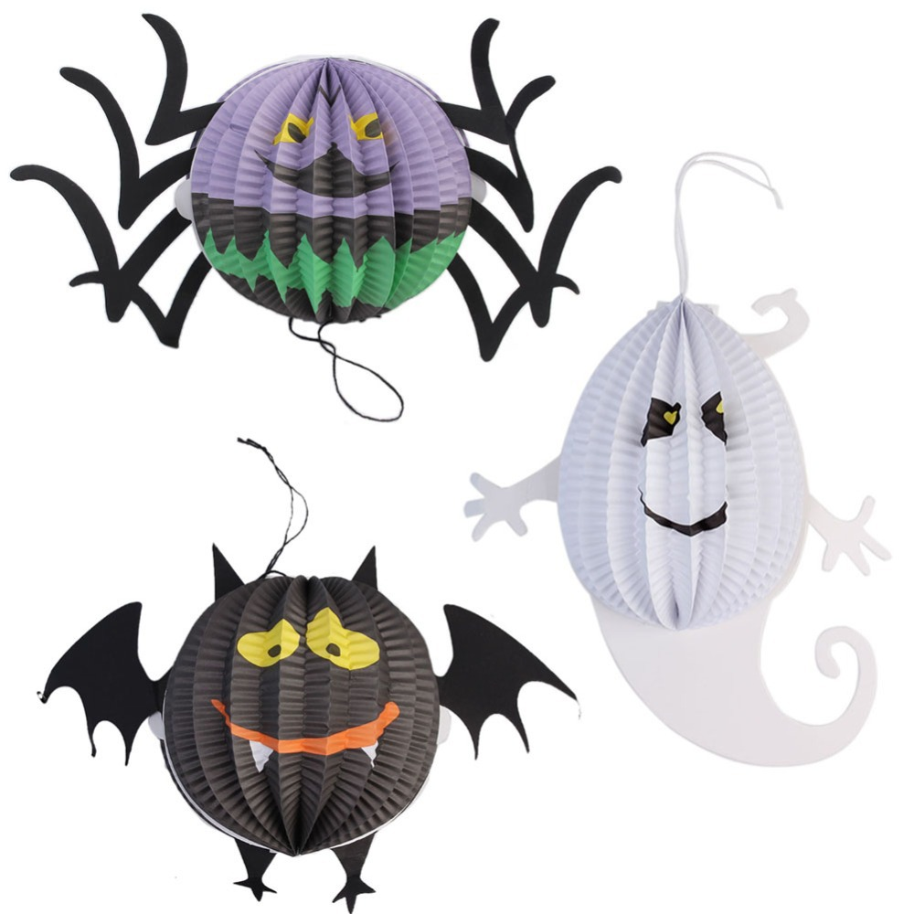 3 pcs /Set Halloween Pumpkin Ghost Bat Spider Witch Paper Lanterns Decorated Props(China (Mainland))