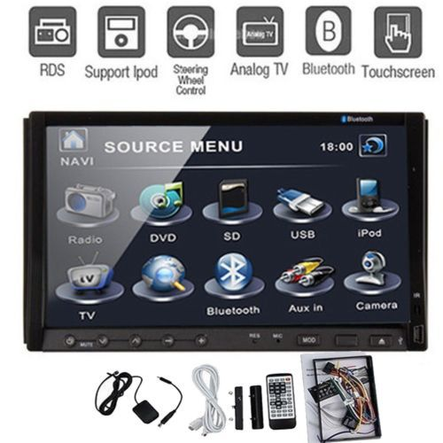 Double 2 Din In-Deck Car DVD VCD CD Player 7'' HD Touch Screen Car Radio Stereo Player built-in Bluetooth +TV +RDS +USB+SD+Ipod(China (Mainland))