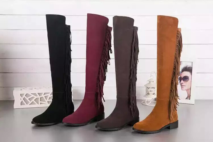 Hot autumn winter women genuine leather Suede Leather Flats heel thigh high Tassel  suede boots elastic  boots Brand women boots