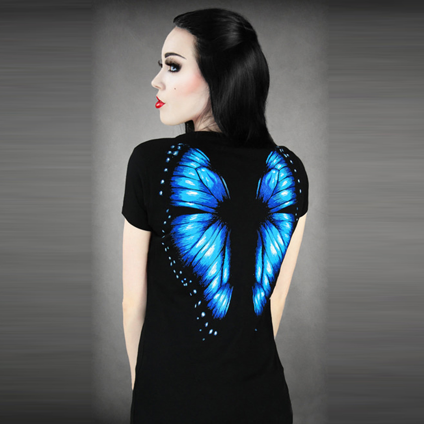 Women 3D T shirt Butterfly Print On Back Summer Dress Tops Tee Shot Sleeve 3D print 20(China (Mainland))