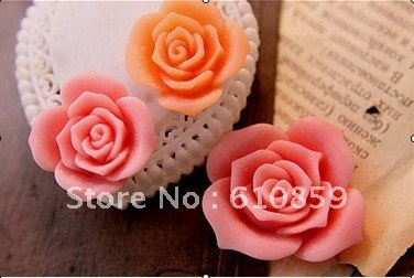 Free shipping!!! 100pcs/lot  2012  Emulational Resin Rose Flower For Jewelry Decoratition Mix Color 25*25MM
