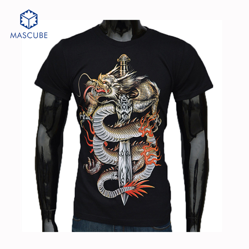 2015 Casual Men's Wear Short Sleeves 3D T-Shirt Chinese Dragon Printing Plus Size Famous Brand Printed Mens T Shirts Clothing(China (Mainland))