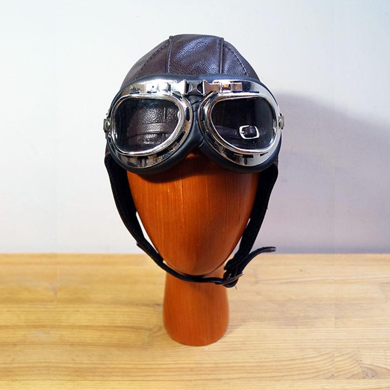Retro leather goggles pilot cap Steam Punk hat Mask Steampunk Daft Punk Metal Rivet Goggles Handmade Vintage aviation helmet(China (Mainland))