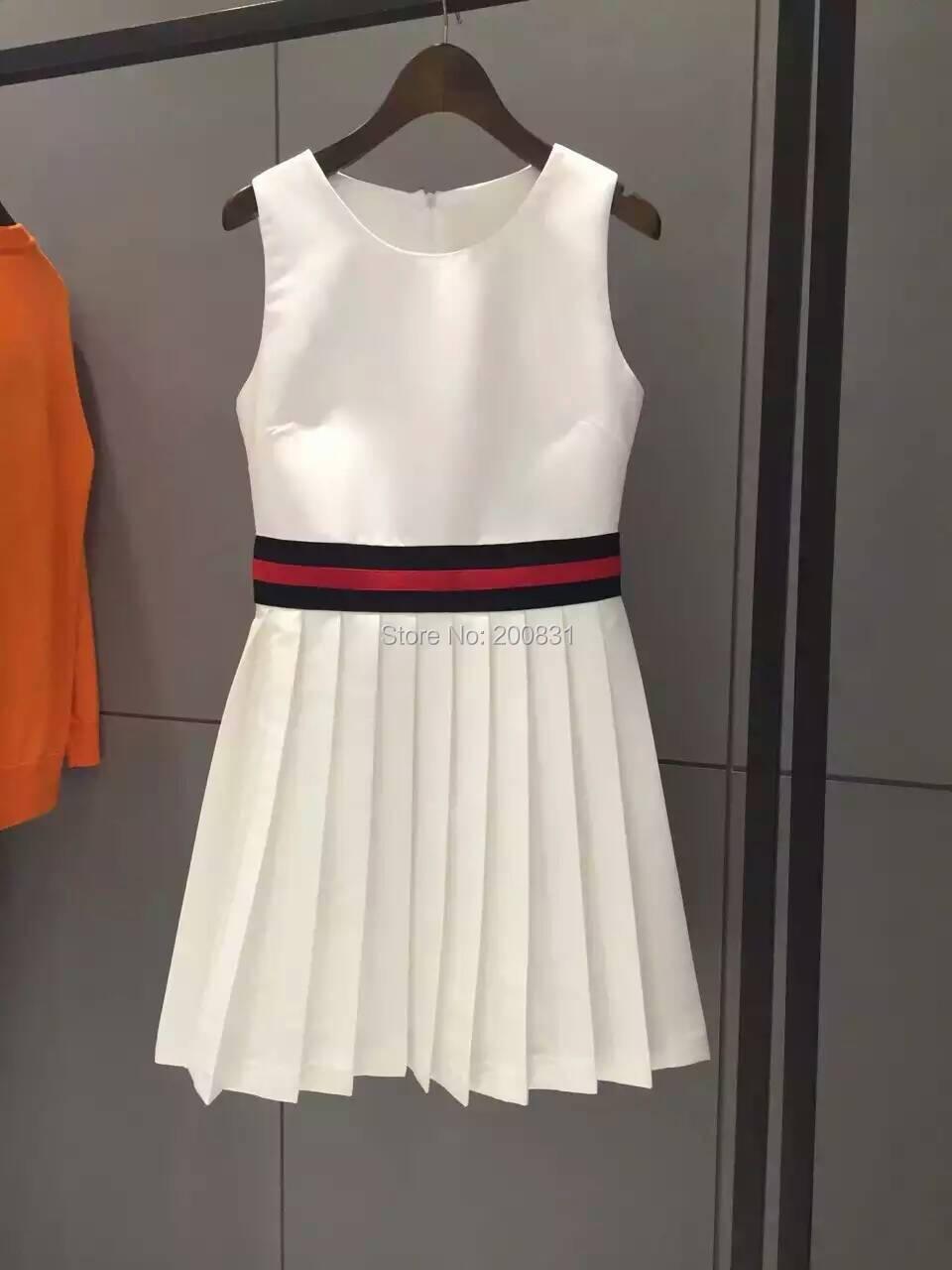 2016 Famous Brand Dresses For Women Summer White Sleeveless Cute Women Dress