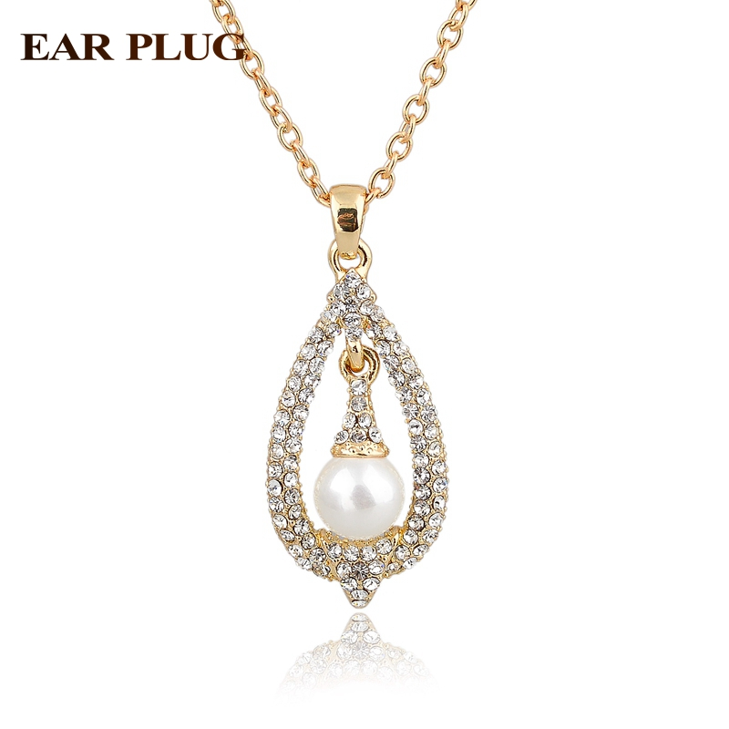 Vintage Gold Necklace For Women Crystal Big Simulated Pearl Necklaces & Pendants Collier Femme Ethnic Jewelry 2016 Sne140384(China (Mainland))