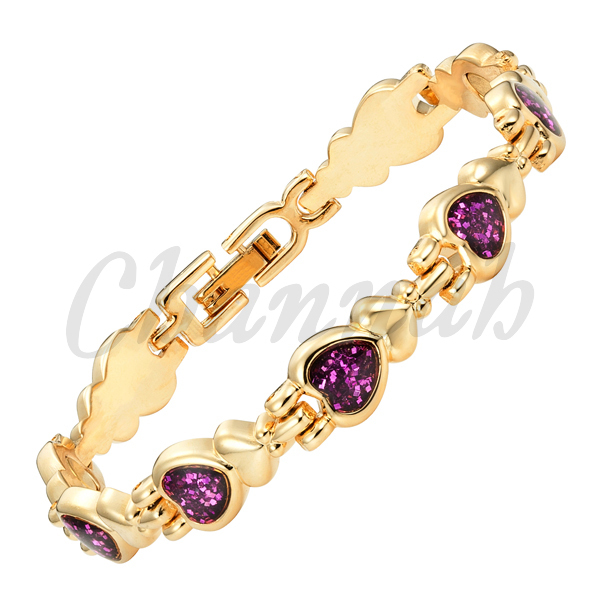 2016 Women 18K Gold Bracelet Magnetic Purple Heart Pattern Bangle Ladies Romantic Jewelry Gift Free Shipping via Hong Kong Post(China (Mainland))