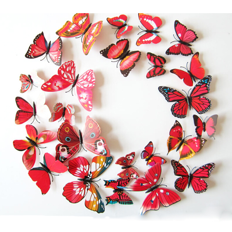 1Set Butterflies Wall Decals Mirror Red 3D Wall Stickers For TV Wall Kids Bedroom Home Decoration For Wedding Room Party Decor(China (Mainland))