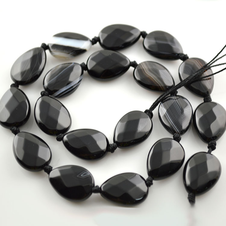 Faceted Pear Shape Black Agate Beads Grade AAA Natural Onyx Stone DIY Meaterials Bracelet Neckalce 5pc/lot - A&H Jewelry Store store