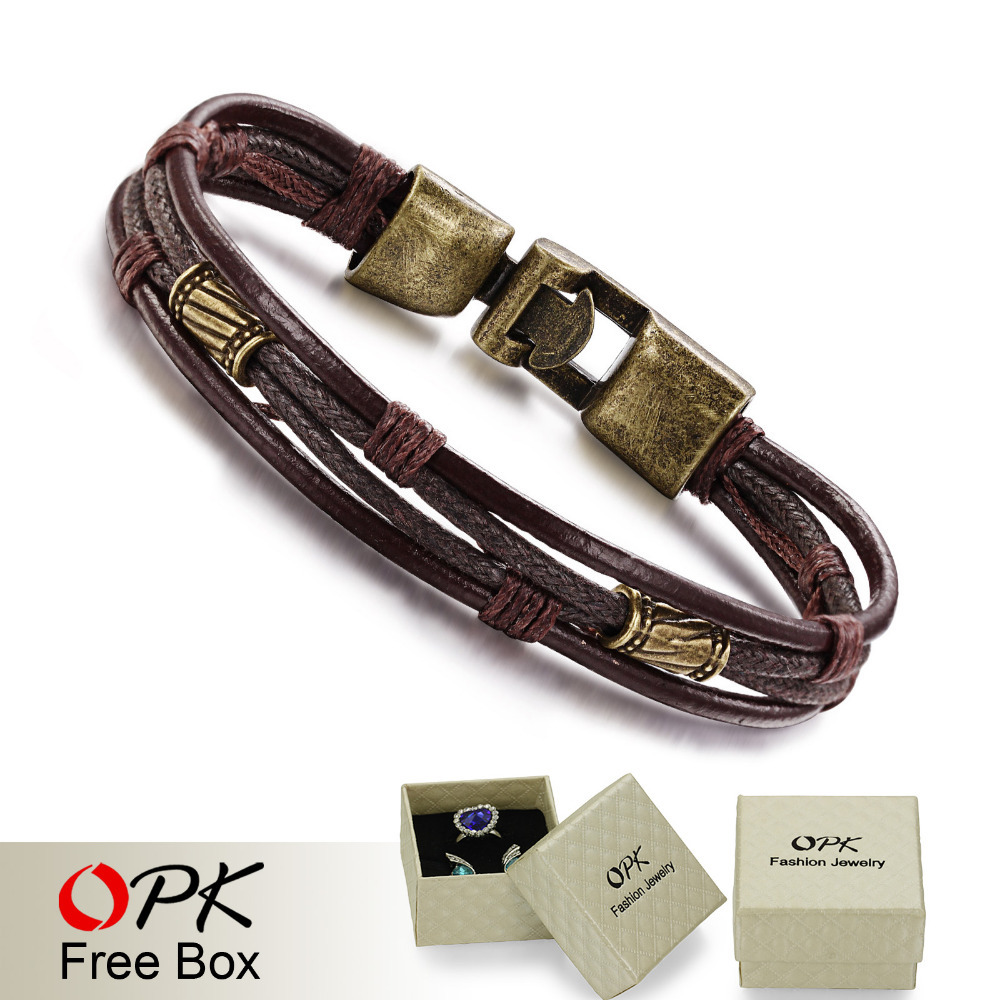 OPK Fashion Multi-Layer Genuine Leather Man Bracelets Casual/Sporty Easy Alloy Hook Link Chain Men Jewelry Cheap Price(China (Mainland))