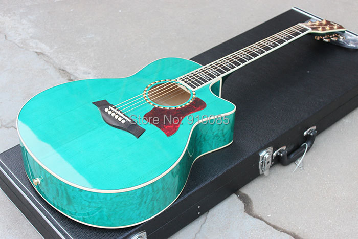 New Arrival, China Manufacture Custom Top Quality, T 810-ce Classical Blue Acoustic Guitar, AAA Solid Spruce Top,Free Shipping(China (Mainland))