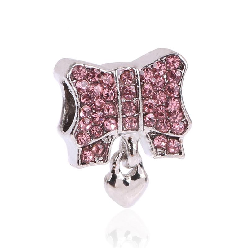 2016 Fashion Cute New 925 Silver Charms Heart & Bow Beads with Clear Zircon Fit Original Pandora Bracelet Pendant Jewelry Gift(China (Mainland))